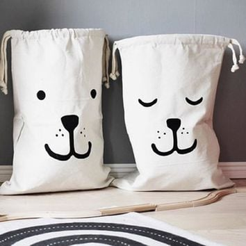 Large Kids Draw String Bags -  Canvas Bear, Batman, Laundry Bags - Free Shipping