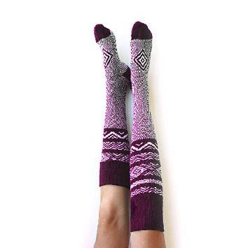 Scandinavian Pattern Knee High Socks Wine