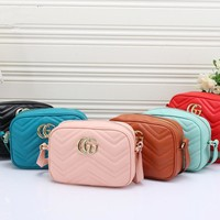 """Gucci"" Women Simple Fashion Zip Double G Logo Wave Stripe Single Shoulder Messenger Bag Camera Bag"
