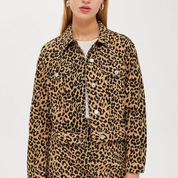 Leopard Print Denim Jacket and Skirt Co-Ord - Denim - Clothing