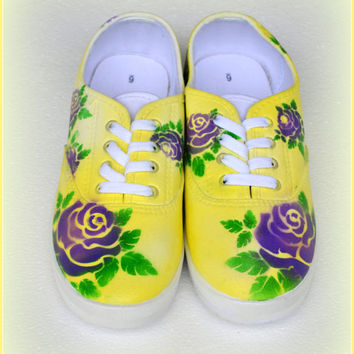 Hand Painted Womens Shoes, Women's Shoes -Floral Theme, Feminine Yellow Shoes, Casual Shoes, Gifts for Teens, Gifts for Girls, Gifts for Her