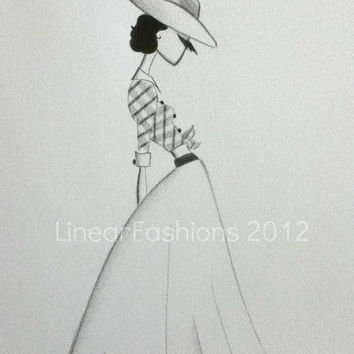 Fashion Art Illustration 1950s Country Cowgirl Black and White Decor