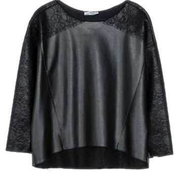 Black Loose Fitting Faux Leather Blouse with Lace Detail