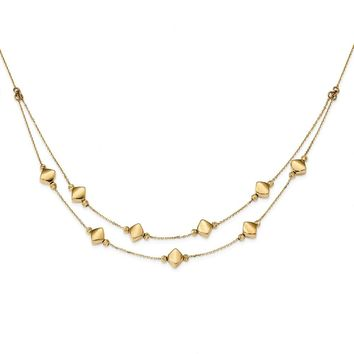14K Yellow Gold Polished Diamond Cut Fancy Shapes Two Tier Necklace 17 Inch