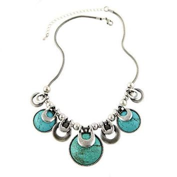 Ethnic vintage chunky choker collar natural stones statement bib necklace jewellery chain silver
