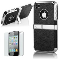 Pandamimi Deluxe Genuine Leather Hard Case with Chrome Stand for iPhone 4/4S/4G - Black