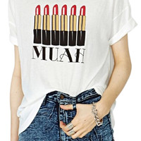 ROMWE Lipsticks Print Loose White T-shirt