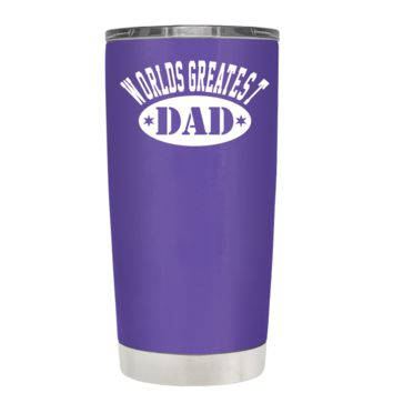 Worlds Greatest Dad on Purple 20 oz Tumbler Cup