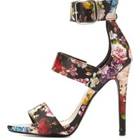 Floral Strappy Stiletto Sandals by Charlotte Russe