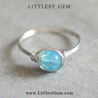 Blue Opal Ring - unique rings - wire wrapped jewelry handmade - custom ring