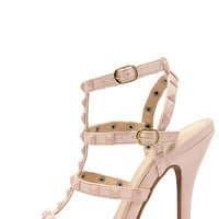 Blingin' Sexy Back Nude Studded Caged Heels