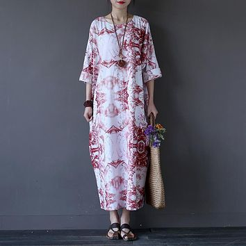 Chinese style Vintage Print Women Long Dress O-neck Loose Casual Plus size Summer Maxi Dress Oversized Robe Longue Femme A061