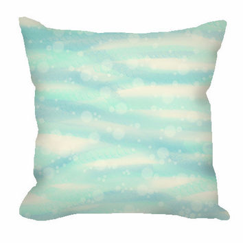 Nautical Throw Pillow with sea and sand with bubbles