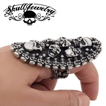 'The Sky Is Crying' Multi-Skull LONG Ring with Black Gemstone Eyes (264)