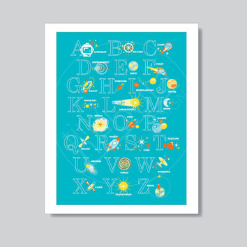"Science ABC Poster: space-themed 18x24"" print; gender neutral nursery art; science alphabet for kids"