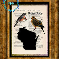 WISCONSIN State Black Silhouette Art, State Birds, State Nickname - Vintage Dictionary Page Art Print Upcycled Page Print