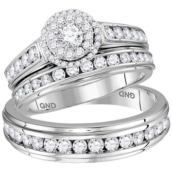 14kt White Gold His & Hers Round Diamond Solitaire Matching Bridal Wedding Ring Band Set 1-5/8 Cttw - FREE Shipping (US/CAN)