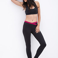 FOREVER 21 Crossover-Waist Workout Leggings Black/Sangria X-Small
