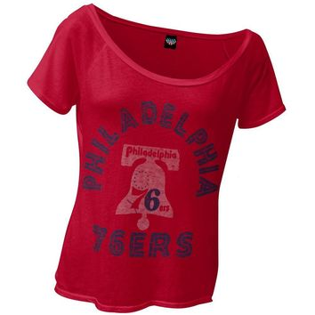 Philadelphia 76ers - Classic Logo Off-Shoulder Juniors T-Shirt