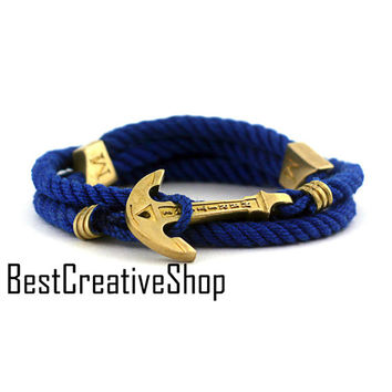 Anchor Bracelet / Blue Bracelet / New MARITIME Collection / Wrap Bracelet / Sea Bracelet / Rope Bracelet / Wooden Box / Adjustable Size
