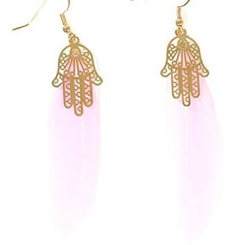 Hamsa Feather Earrings Light Pink Plume Gold Tone Hand EG54 Fashion Jewelry