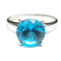 Blue Simulated Pariaba Tourmaline Engagement Solitaire Ring Size 8