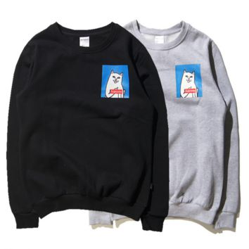Autumn hip - hop street tide brand middle finger cheap cat Supreme cotton fleece round neck sets of head sweaters men