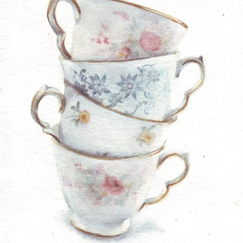 HM080 Watercolor art painting Classic Teacups Stack by Helga McLeod