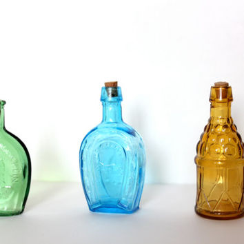 Colored Glass Bottles  Vintage Jars Home Decor by attentionvintage
