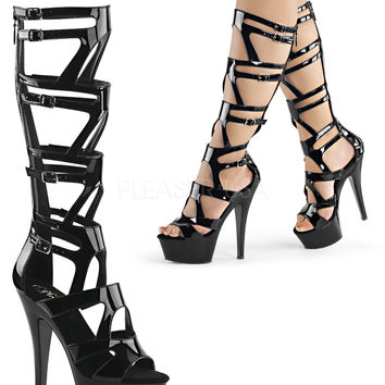 Knee High Strappy Gladiator Boot-Stripper Boots