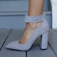 New Vegas Light Gray Ankle Strap Chunky Heels