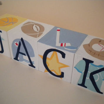 Personalized Baby Name Blocks- Jumbo Size- SPORTS STAR Theme