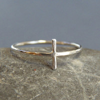 Sterling Silver Cross Ring - Sideways Cross - Hand crafted - Minimal