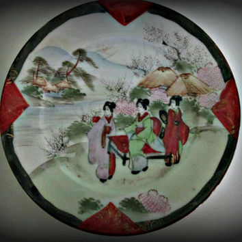 Japanese Geisha Girl Porcelain Plate Signed, Home Decor, Kitchen Decor, Table Decor