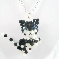 Cat Necklace Beaded Necklace Black Cat Necklace