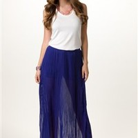 Pleated Maxi Skirt with Shorts