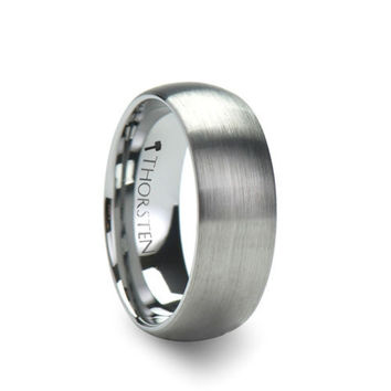 PERSEUS Brushed Finish Rounded Tungsten Carbide Ring 8mm