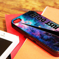 """Nike Just Do It Galaxy Nebula - for iPhone 4 / 4s case, iPhone 5 case - Black / White. """" Option please """""""