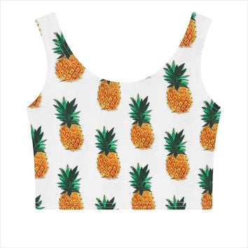 DoreenBow Summer Boho Pineapple Tank Tops  Fashion Women Crop Top Sleeveless Fruit Print Casual Top Women Short Cropped Tops