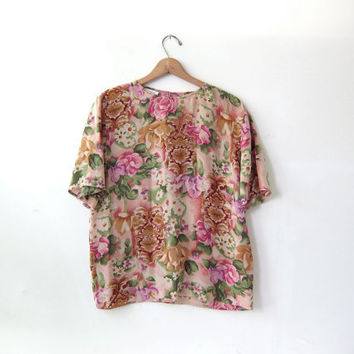 90s silk shirt. printed silk blouse. oversized floral silk shirt.