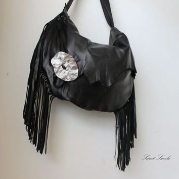 Black oversized leather hobo fringes fringe big tote crossbody artisan handmade gothic goth boho hippie raw edge silver large button