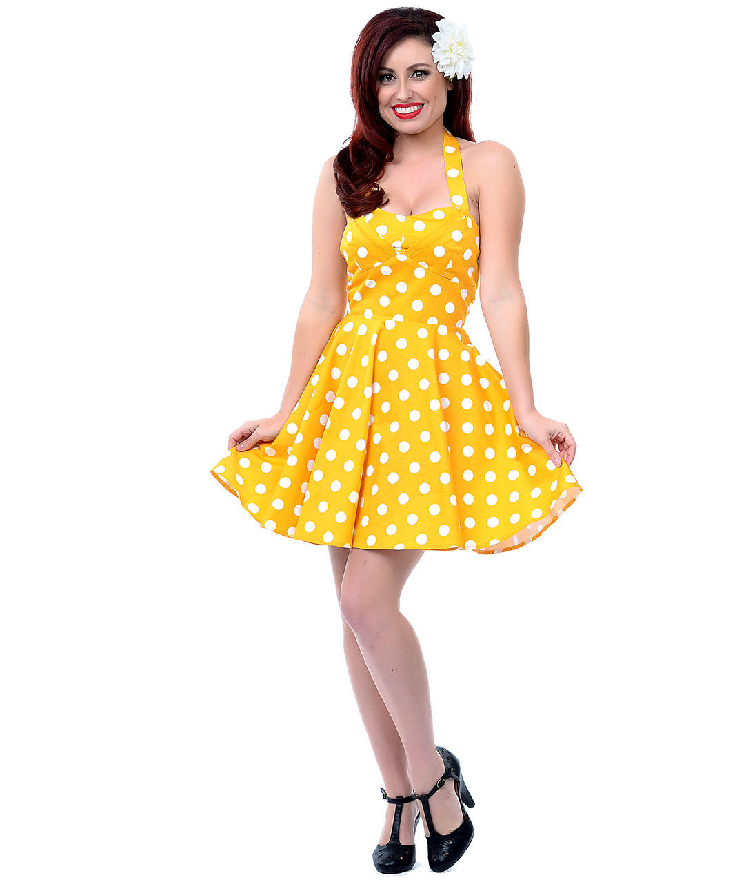 Yellow Amp White Polka Dot Halter Fit N From Unique Vintage