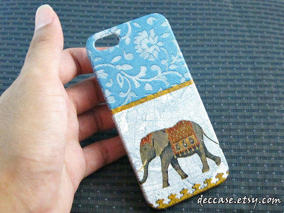 IPHONE 5 CASE, Case for iPhone 5, iPhone Case 5 - ELEPHANT (Blue)