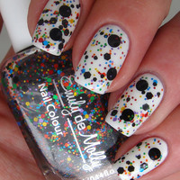 "Nail polish - ""Abstract canvas"" black and multi coloured glitter"