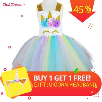 POSH DREAM Kids Girl Unicorn Dress for Cosplay Party Rainbow Color 1st Birthday Party Tutu Dresses Children Cosplay Costume Set