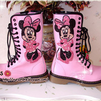 Czech  Crystal Bling Bling  Martens boots Style Minnie