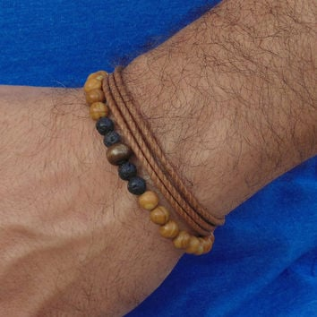 Mens bracelets set , bracelet set for men , beaded bracelet, wrap brown armband, triple warp , gift for him, jewelry for man, free shipping