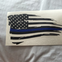 Back the Blue Distressed Flag Thin Blue Line Vinyl Decal | Yeti Cop Decal | Distressed American Flag | Blue Lives Matter | 383