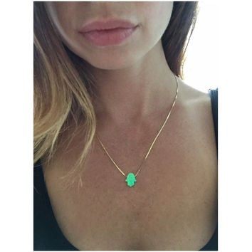 Hamsa Necklace   Opal Hamsa Necklace in Sterling silver plated with 18K Gold or 18K Rose Gold   Good Luck Charm Necklace