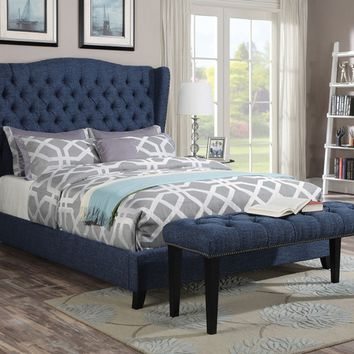 Faye collection blue linen fabric tufted padded headboard footboard and rails queen size wing back bed set